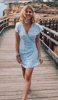 brandy melville blue stripe/white floral v neck robbie wrap dress NWT sz S