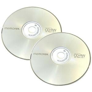 2 x Memorex CD-RW Disc ReWritable Blank Discs in Sleeve x4 - x12 700MB 80min
