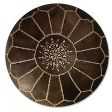 Moroccan Leather Pouf Wood Brown - Delivered Stuffed, Ottoman, Footstool