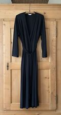 Diamond Tea~ Full Length Wrap Robe, Dress~ Black~ Sz M~ EUC