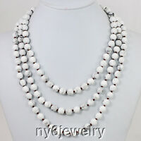 "60"" Round White Howlite Turquoise Beaded Knot Extra Long Strand Necklace Elegant"