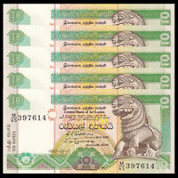 Lot 5 PCS, Sri Lanka 10 Rupees, 1992, P-102b, UNC, Banknotes, Original