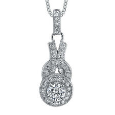 Sterling Silver Dainty Drop CZ pendant Necklace set with Pave cubic zirconias