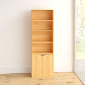 6 Tier Beech Bookcase With 2 Door Cupboard Storage Wood Shelf Bedroom Shelving
