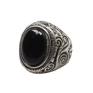 Mens Large Natural Oval Genuine Onyx Gemstone Stainless Steel Ring US Size 7-14