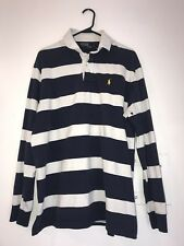 Ralph Lauren Polo Navy/White Striped Long Sleeve Rugby Large Stripes Blue Yellow