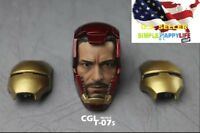 1/6 Iron man MK7 helmet head + 2pcs masks Tony Stark CGLT-07s for hot toys ❶USA❶