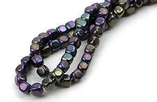 100 Purple Iris Czech Glass Cube Beads 3MM