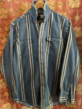 Vintage Wrangler Snap Striped Denim Shirt Sz S/M (15 1/2 x 34)