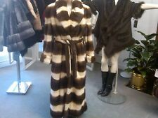 Ladies Designer  Horizontal Tourmaline & Mahogany Long, Belted Mink Coat