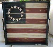 """LARGE WOOD STARS & STRIPES FLAG OTTOMAN SERVING TRAY WITH HANDLES 20"""" SQUARE NEW"""