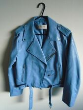 ZARA ladies powder blue faux leather biker jacket size L (approx size 12-14)