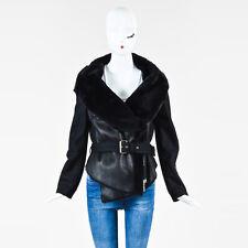 Plein Sud $2600 Black Leather Shearling Fleece Wool Belted Jacket SZ 40