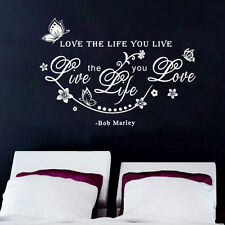 Fashion Bob Marley Quote Love The Life You Live Art Wall Sticker Decals Decor