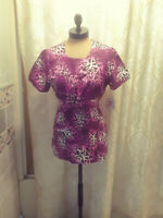 NEW White Cross Pink Leopard Scrub Top Womens Small NWT Closet9