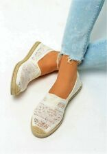 *WOMENS-LADIES*SLIP ON LACE FLAT ESPADRILLES NEW SUMMER HIT* UK SIZES 3-8