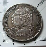 H20102 pièce de monnaie belle copie 5 francs Louis XVIII 1815 A pas argent copy