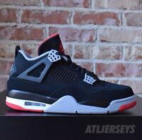 2019 Nike Air Jordan 4 Retro OG BRED Black Red Cement Grey Men's GS Size 4Y-15