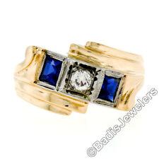Herren Retro Vintage 591ms 14K Gold 0.22ct ct Diamant Saphir 3 Steine umgehen