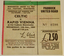 Ticket for collectors CWC Celtic FC Rapid Wien 1984 Manchester England Austria