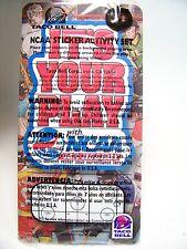 2001 Vintage Taco Bell Premium Kidcentives NCAA Sticker Activity Set MIP C10!