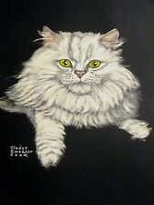 Gladys E. Cook White Angora or Persian Cat c1950 Large Folio Print Matted