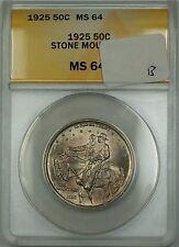 1925 Stone Mountain Commemorative Silver Half 50c Coin ANACS MS-64 Toned (B)