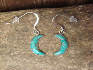 Zuni Indian Sterling Silver Inlay Turquoise Moon Dangle Earrings by Kallestewa
