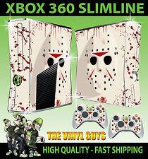 Xbox 360 Slim Jason Voorhees Mask BLOODY SKIN & 2 x Control Pad Folien