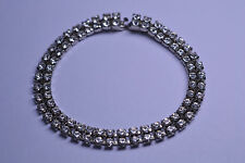 VINTAGE 2 ROW PRONG SET RHINESTONE BRACELET 6.75 INCHES LONG 1/4 INCH WIDE