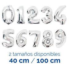 Globo Gigante Forma Numero Color Plata Fiesta Cumpleaños Boda Bautizo Helio Foil