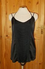 Kardashian Kollection Raso Nero Frangia Canottiera Gilet Tunica Top Party NUOVO con etichetta L