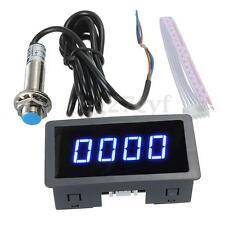 Blue 4 Digital LED Tachometer RPM Speed Meter + NPN Hall Proximity Switch Sensor