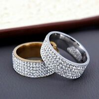Gold Silver Couple CZ Stainless Steel Men/Women's Wedding Band Ring Rings