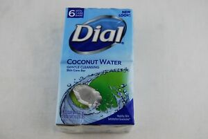 Dial Coconut Water Gentle Cleansing Skin Care Bar 6 Soap Bars 4 OZ Each