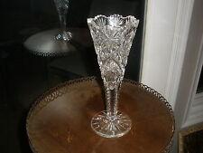 "American Brilliant Cut Glass Trumpet Vase 10"" Tall Sawtooth Scalloped Stars"