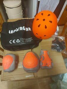 Lanovagear Helmet And Saftey Pads Set 2-8 years orange
