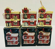 Lot of 3 1997 Badcock Collectible Village Bell Ornaments Post Office