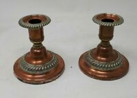 Antique Solid Copper Shabby Chic Candlesticks 10cms x 10 cms
