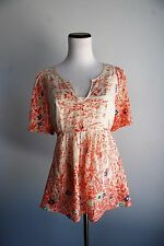 Rebecca Taylor Floral Print Short Sleeve Blouse Sheer Cream Size 6