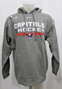 Washington Capitals Playoff Reebok Men Pullover Hood Sweatshirt NHL Gray M L XL