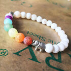 Fashion + Chakra Bracelet 7 WHITE with ELEPHANT CHARM , Healing Bracelet Jewelry