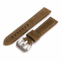 1pcs Mens 20/22/24mm Genuine Leather Watch Strap Band & Stainless Steel Buckle