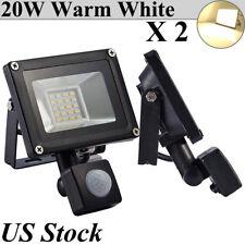 2X 20W PIR Motion Sensor Led Flood Lights Warm White Outdoor Lanscape Spot Lamp