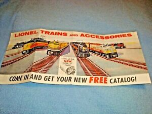 "Vintage Original 1950s ""Lionel Trains & Accessories"" 4 Panel Paper Poster"