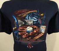 Boston Red Sox MLB Baseball Blue Graphic T Shirt 100% Cotton XL