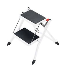 Hailo Mini 2 Kitchen Folding Step Ladder and Stool in White or Silver Grey