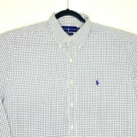 Polo Ralph Lauren Yarmouth Men's Green White Checkered Dress Shirt 16 1/2 34-35