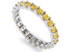 1.30Ct Round Yellow Diamond Shared U-Prong Eternity Band Ring 14k White Gold SI2