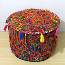 """22"""" Vintage Ottoman Round Pouf Cover Footstool Indian Handmade Patchwork Decor"""